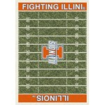 "Milliken College Home Field (NCAA) Illinois 01113 Home Field Rectangle (4000018625) 7'8"" x 10'9"" Area Rug"