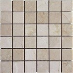 "MS International Crema Marfil Marble Mosaic 12"" x 12"" : SMOT-CREM-2X2-T"