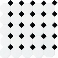 "Daltile Octagon Dot: Matte White with Black Gloss Dot 12"" x 12"" Ceramic Tile 65012OCT21MS1P2"